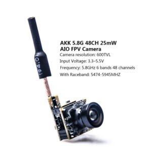 AKK BS2 5.8G 48CH 25 mW VTX 600TVL 1/3 Cmos AIO FPV Cámara (507)