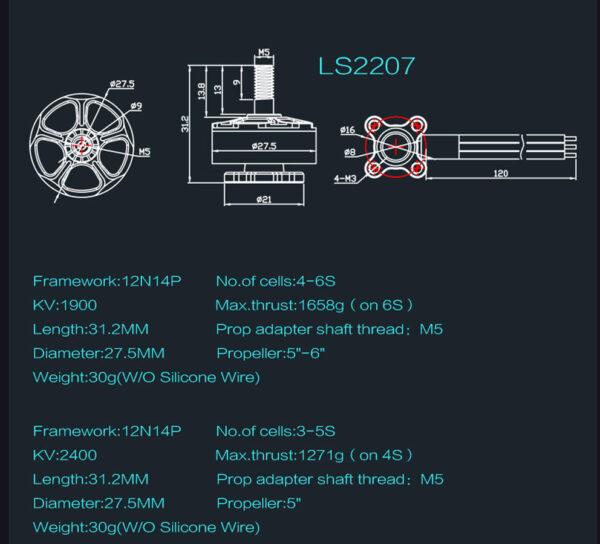 EMAX Lite Spec LS2207 Brushless Motor (476)EMAX Lite Spec LS2207 Brushless Motor (476)